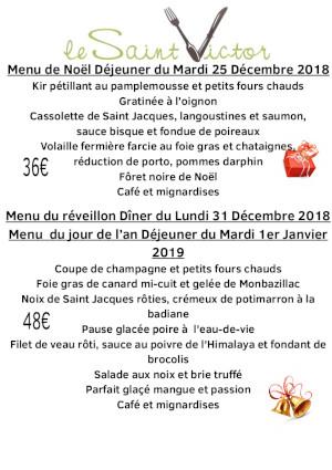 menu des fêtes 2018/2019